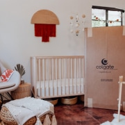 colgate crib mattress box in a baby nursery